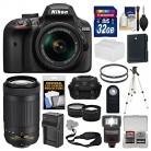 Nikon D3400 Digital SLR Camera & 18-55mm VR & 70-300mm DX AF-P Lenses with 32GB Card + Case + Flash + Tripod + Tele/Wide Lens Kit