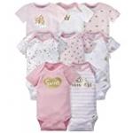 Gerber Baby 8-Pack Short Sleeve Onesies Bodysuits, Castle, 0-3 Months